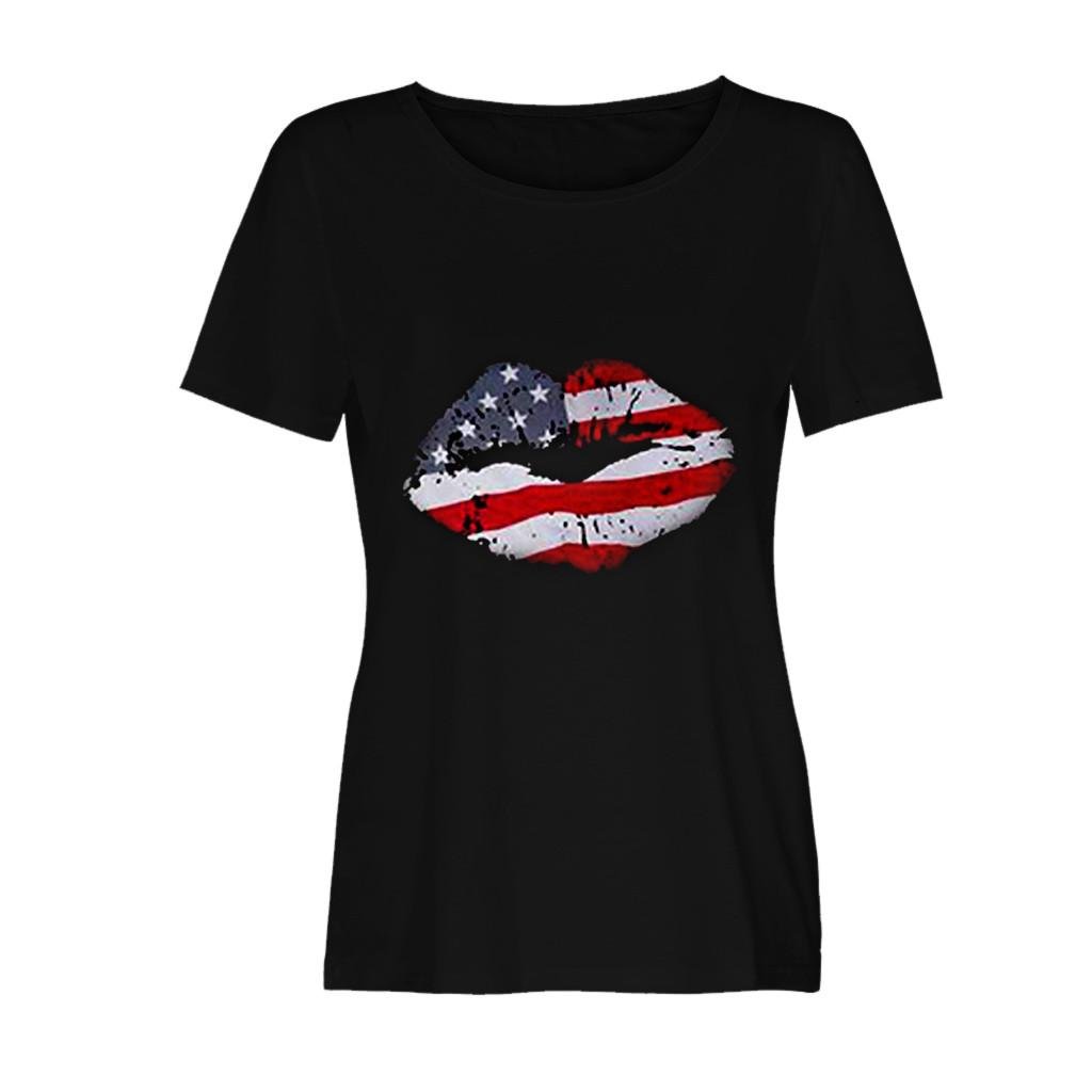 T-shirt Women's Fashionable Loose Independence Day American Flag Lips Short-Sleeved Printed T-shirt Top roupas femininas