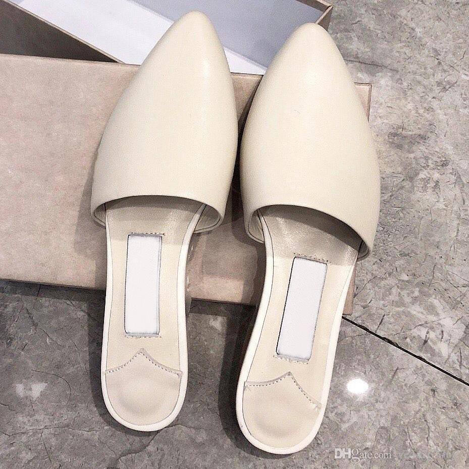 New leather shoes new pointed female half drag stilettos wearing fashion show simple sexy pointed single shoes flat slippers with qu