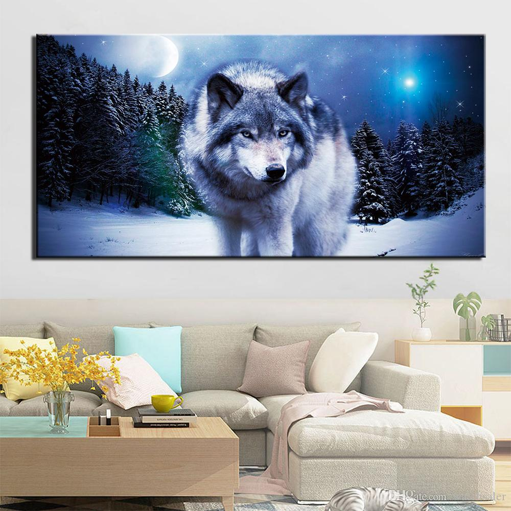 Abstract Painting Animal Moon Night Wolf Picture Decoration Home Wall Art Posters And Prints Decorative Picture Giclee Artwork No Frame