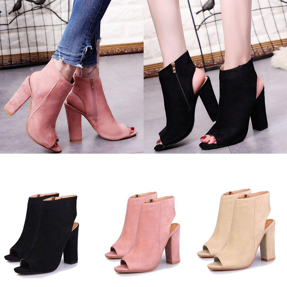 80bc4addbe5 Compre Primavera Verano Otoño Mujer Botas Para Mujer De Gamuza Tacones  Altos Sexy Peep Toe Botas Zapatos Mujer 2019 Nueva Moda Boca De Pescado A   35.43 Del ...