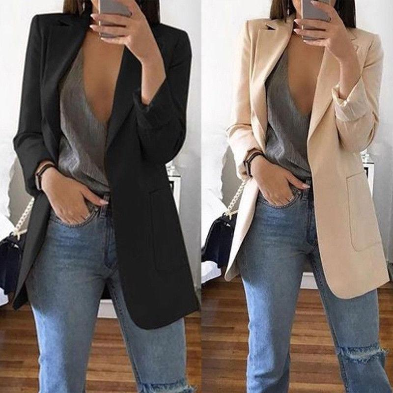 666225ad4353d 2019 New Women s Blazers Spring Autumn Long Sleeve Casual Sexy Lapel Coat  Solid Color Slim Fit Cardigan Outdoor Work Style Suit