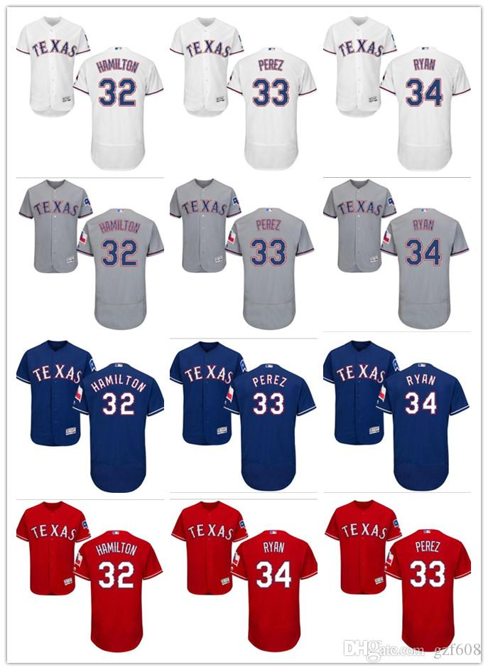 best service 1a2d2 d9ef4 custom Men s women youth Texas Rangers Jersey #32 Josh Hamilton 33 Martin  Perez 34 Nolan Ryan Red Blue Grey White Baseball Jerseys