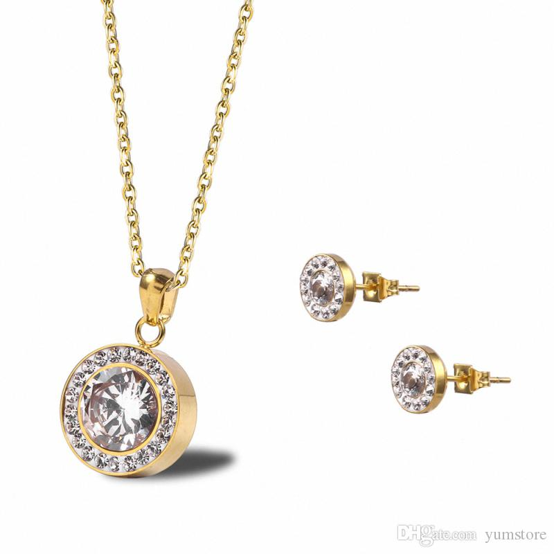 e1ca2329a 2019 Fashion OL Ladies Necklace Earrings Set 18k Gold Plated With CZ  Crystals Pendant Stainless Steel Chain Necklaces Studs Women Jewelry Sets  From Yumstore ...