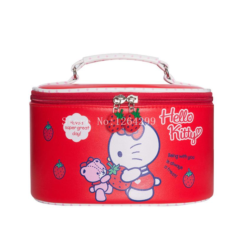 28bca4ded6 2019 New Fashion Hello Kitty Girls Kids Big Red PU Cosmetic Bags Cases For  Children From Universe222