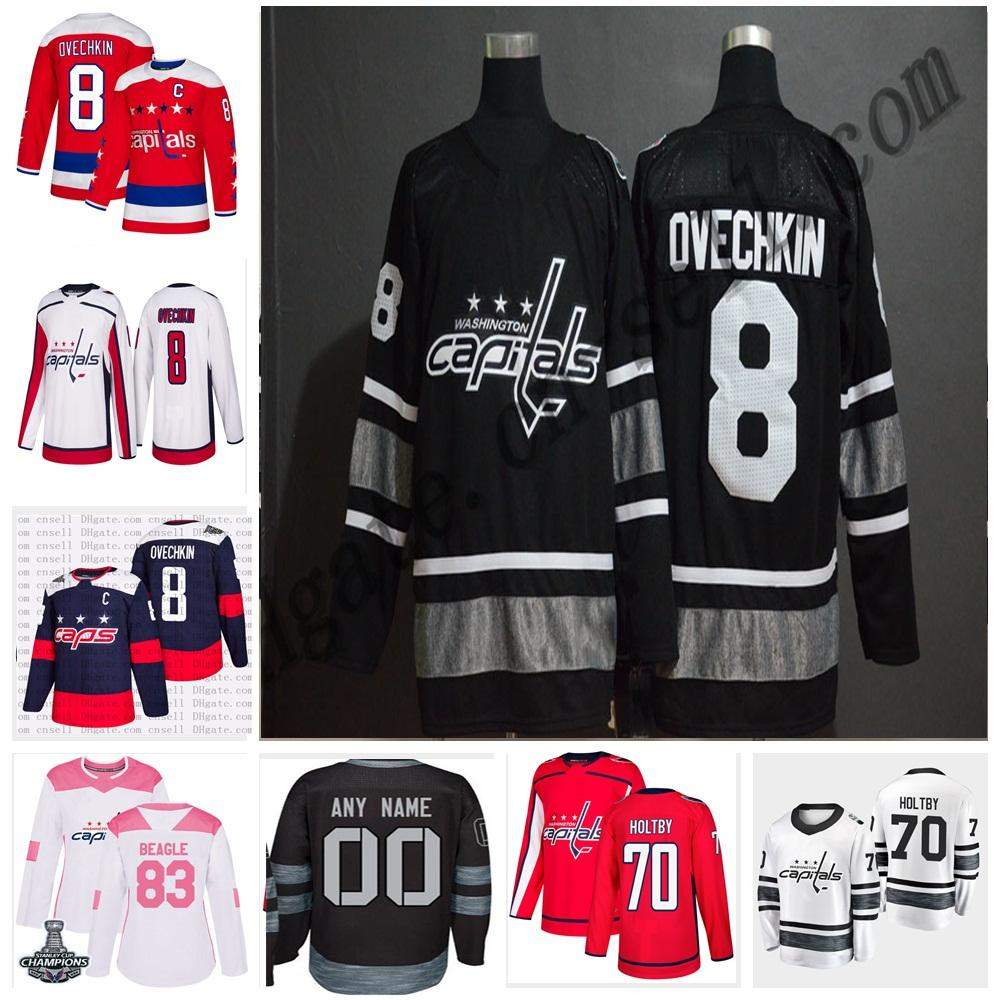 cheaper b35f6 6a950 Men Women Kids 2019 All Star Champion Patch Custom Hockey Jerseys  Washington Capitals Pink T.J. Oshie 8 Alex Ovechkin Nicklas Backstrom