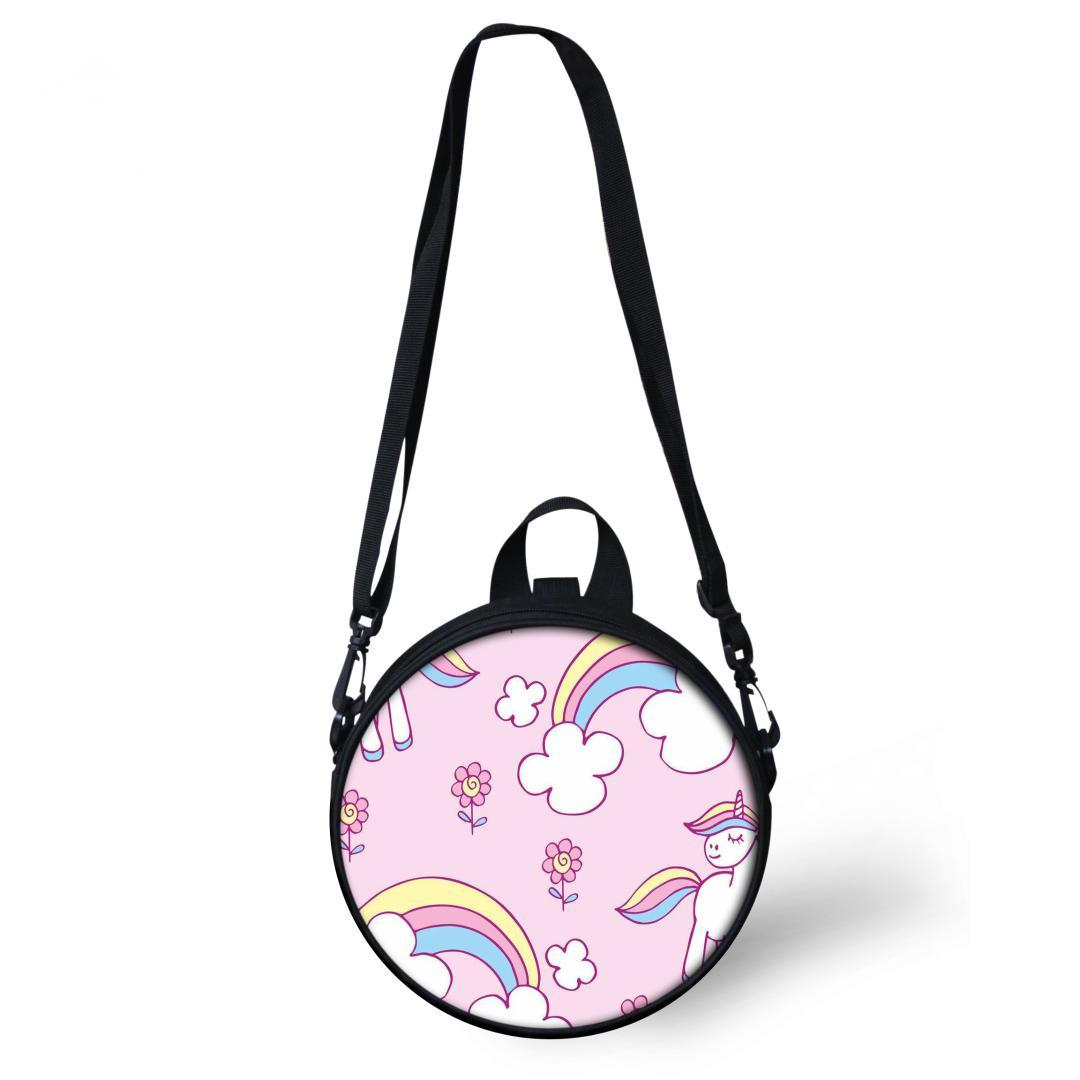 a81ba118e6e1 ELVISWORDS Round Shoulder Bag Women Rainbow Unicorn Printing Circle  Messenger Bag Fashion Shopping Crossbody Bags Purse Totes