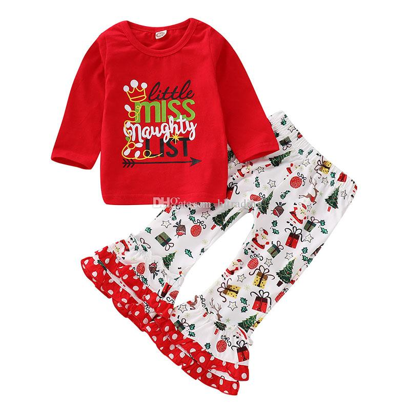 Christmas Spring Baby Girls Clothing Set Kids letter printed long sleeves T-shirt top+santa claus flare Pants 2pcs/set Children Outfits M440