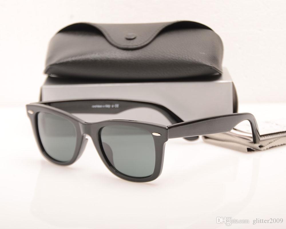 High Quality Plank Sun glasses Black glass Lens ray Sunglasses Metal hinge Sunglasses Brand Designer Men Sun glasses Women glasses with case