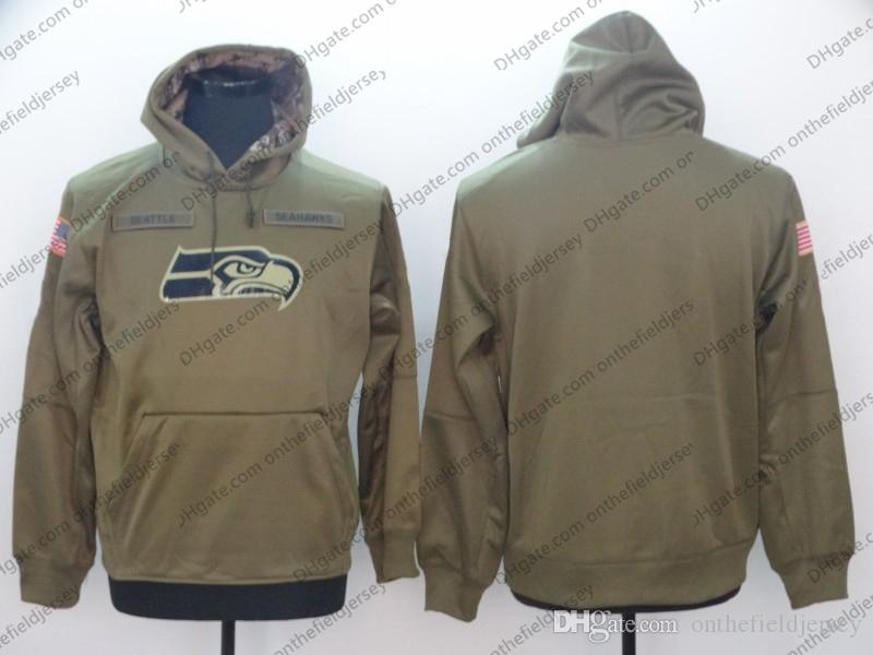 uk availability c5c7c f9f6e Men's Seattle Sweatshirt Seahawks Hoodie 2018 Olive Salute to Service  Sideline Therma Performance Pullover Hoodie S-3XL