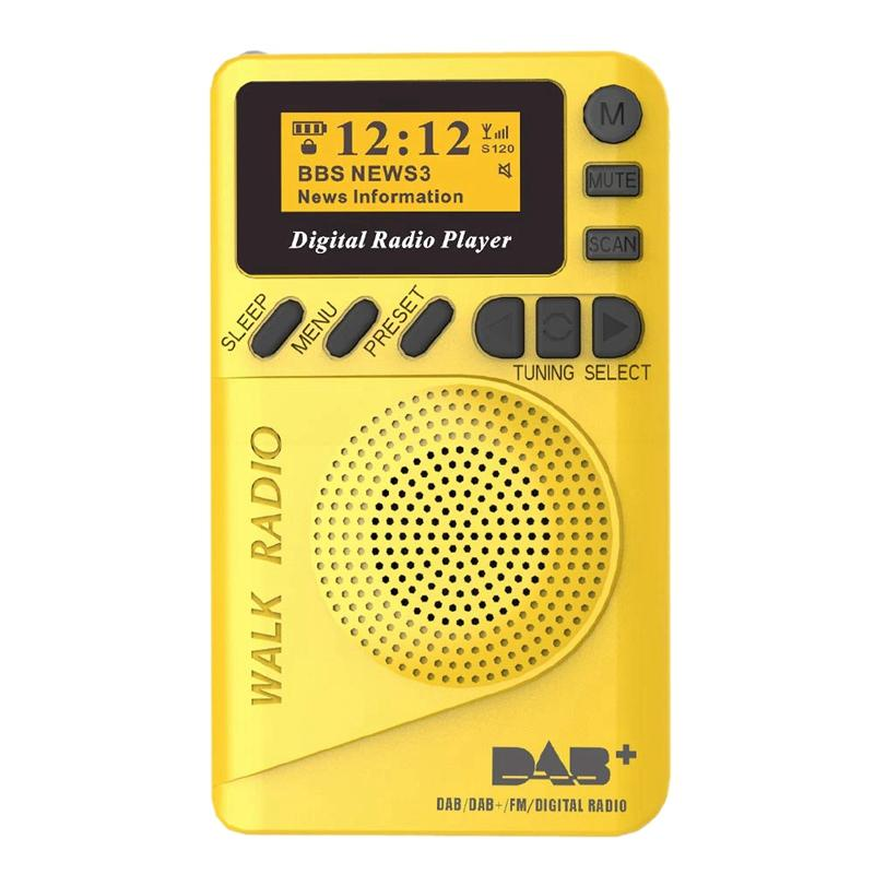 Pocket Dab Digital Radio, 87.5-108Mhz Mini Dab+ Digital Radio with Mp3 Player Fm Radio Lcd Display and Loudspeaker