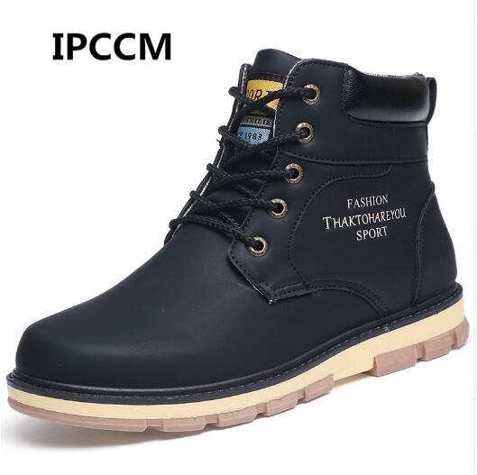 Mens Winter Warm Shoes High Top Autumn Winter Shoes Men Pu Leather