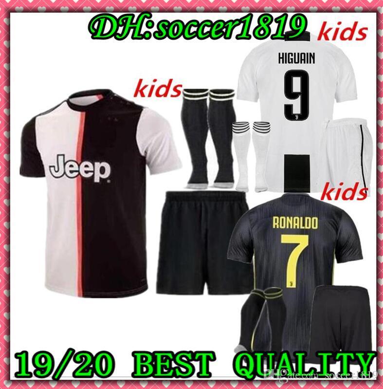 c0ef83462c6 19 20 RONALDO JUVENTUS DYBALA HIGUAIN Kids Kit Soccer Jersey 2019-20 ...