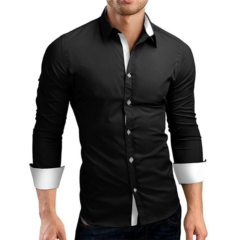 2019 Dress Shirt Men Slim Fit Style Male For Boys White Black Casual