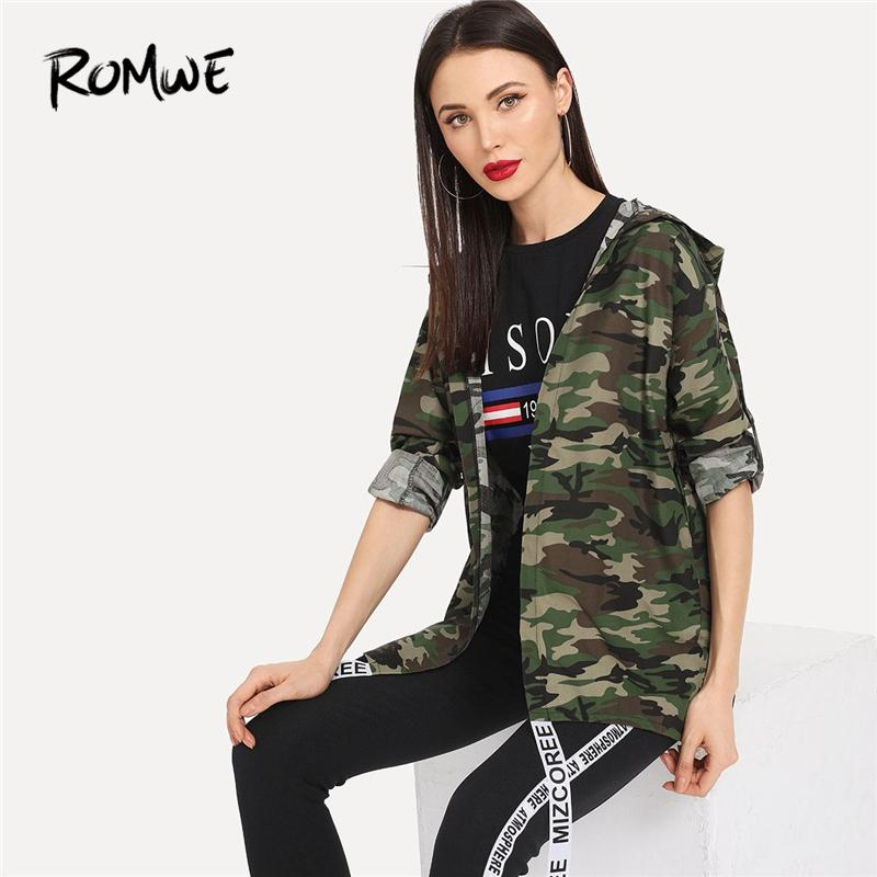 adfcda0ee7fba 2019 Letter Print Roll Up Sleeve Camouflage Hooded Jacket 2019 Cozy Army  Green Women Outer Spring Swish Long Sleeve Coat From Garters, $28.64 |  DHgate.Com