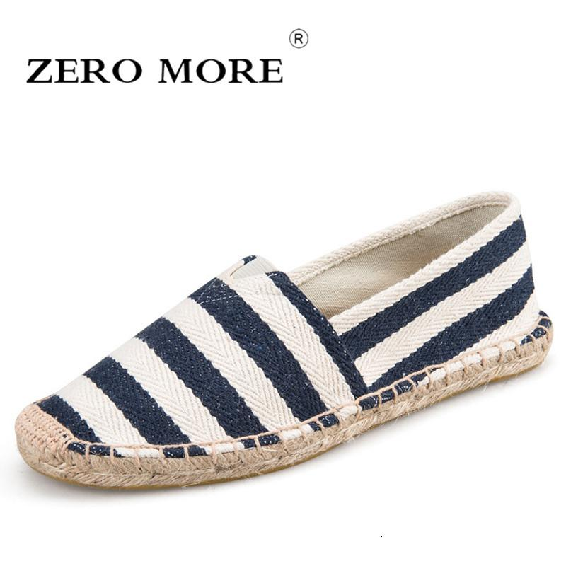 Zero more Mens Espadrilles Men Patchwork Slip On Summer Shoes Men Loafers 2019 Breathable Canvas Men Shoes Fashion Jute WrappedMX190909