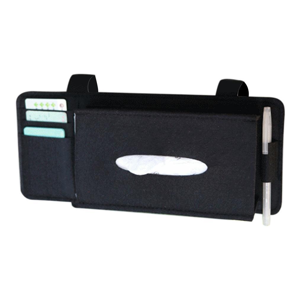 Car Styling Case Sun Visor Type Wool Felt Hanging Tissue Box Car Napkin Holder Pocket Organizer Pouch Card Storage