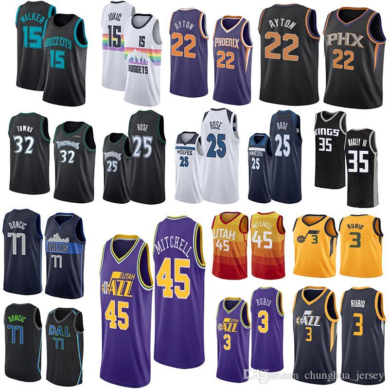 4b2dd2bac Timberwolves Jersey 32 TOWNS 25 ROSE Jazz 3 RUBIO 45 MITCHELL 15 ...