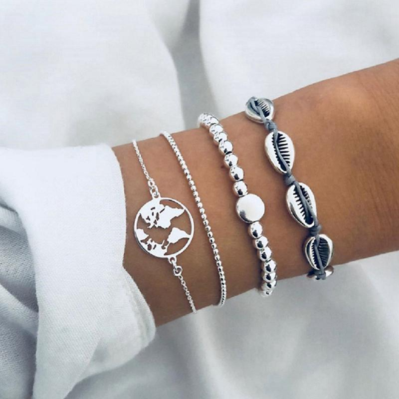 4 Pcs/ Set Retro Beach Shell Map Beads Silver Multilayer Chain Leather Bracelet Set Women Creative Fashion Jewelry Accessories