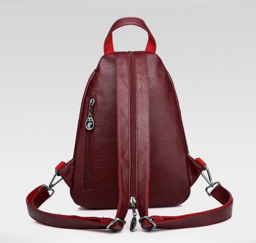 Double Zipper Leisure Women Backpack PU Leather Backpacks Female School Shoulder Bags for Teenage Girls Travel Back Pack PP-1187