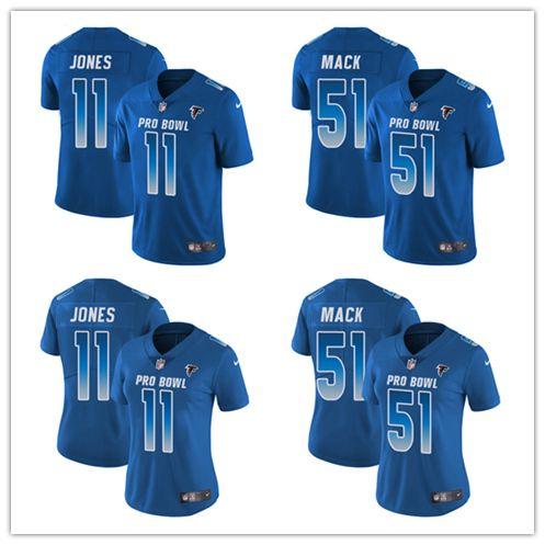 low priced a671c 49eb8 Men's 11 Julio Jones 51 Alex Mack Limited Jersey Atlanta Men's Falcons  Royal Blue NFC 2019 Pro Bowl Football Jersey