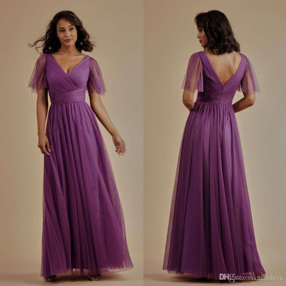 cc369ca3ccaf 2019 Newest Chiffon Bridesmaid Dresses V Neck Short Sleeve Ankle Length  Evening Dresses Backless Customized A Line Party Gowns Teenage Bridesmaid  Dresses ...