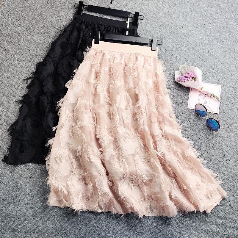 b6f1d68cb 2019 Spring Skirts Womens Feather Tassel High Waist Skirt Hepburn Style  Midi Skirt Korean Chiffon Skirts Faldas Mujer Moda 2019 Saia From Aqueen,  ...