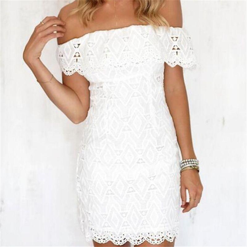 Women Summer Lace Dress Formal Evening Party Mini Dresses White Off Shoulder Ladies Party Dresses Sundress Sexy Women Dress