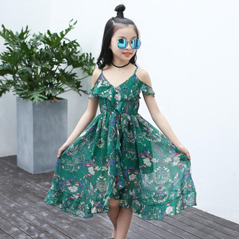 2d7bfd670 2019 Vestido de verano para niñas bebés Vestidos largos de playa Ropa de  niños Vestido con flores Casual V-Nec Ropa asimétrica niños