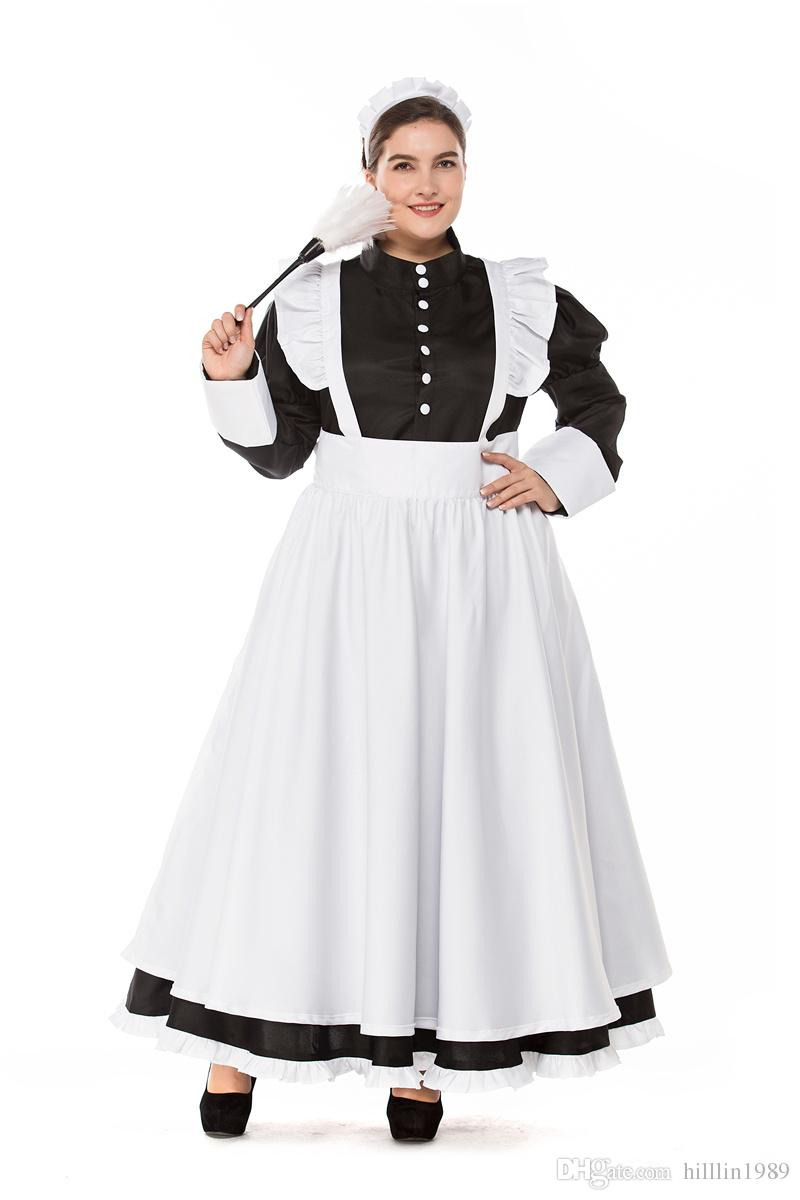 a9781c6d8f Plus Size England Female Cook Costume Carnival German Maid Cosplay Fancy  Dress Large Size Sexy National Traditional Housekeeper Uniform Theme  Halloween ...