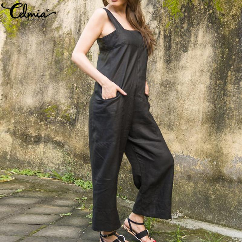 b911c9a850d 2019 2019 Celmia Women Jumpsuits Summer Retro Linen Long Romper Plus Size  Sexy Straps Sleeveless Overalls Loose Casual Wide Leg Pants From  Qingyun1996
