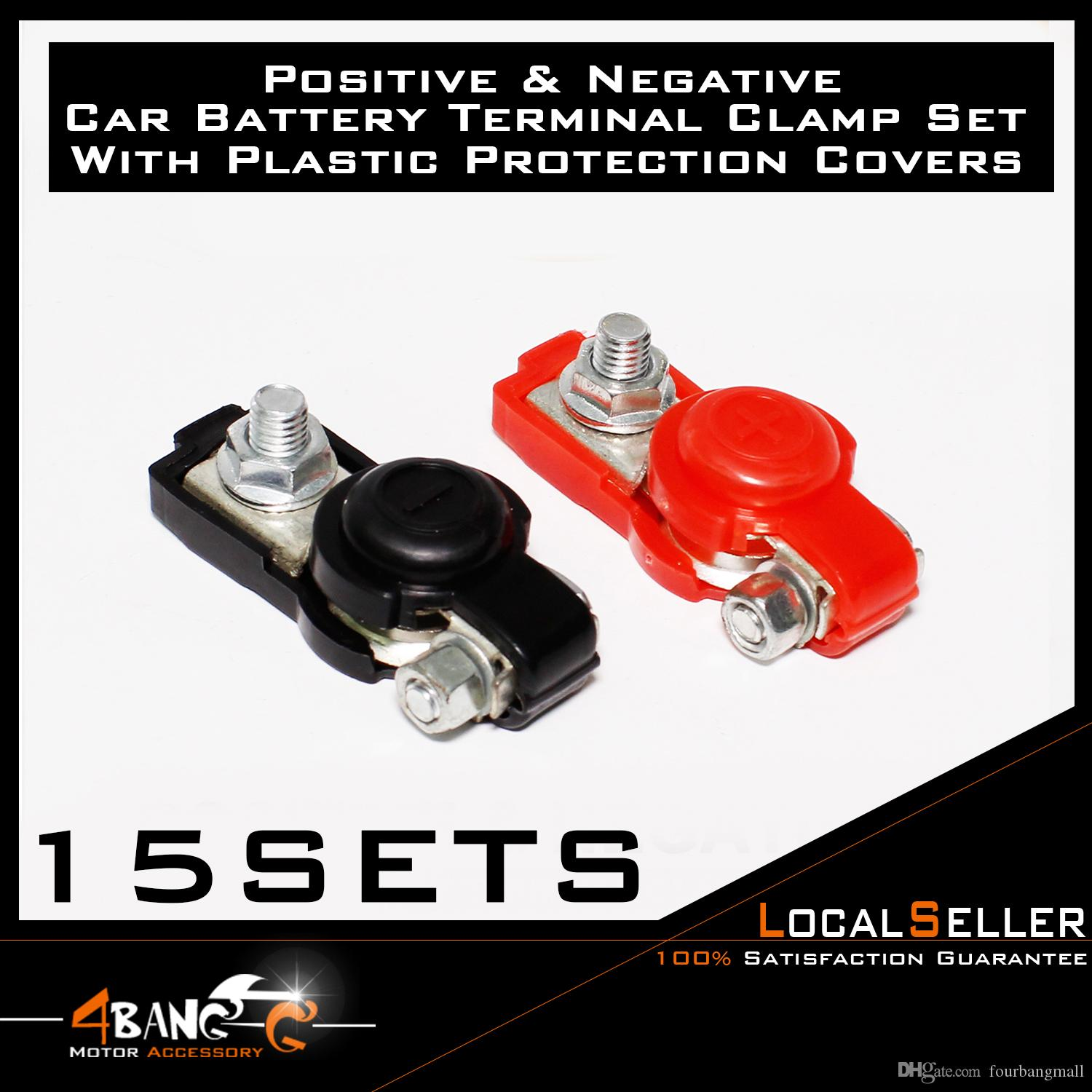 Car Battery Terminals Black Red Clamps Switch Connector Universal