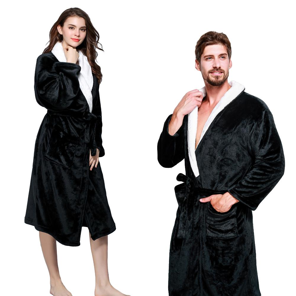 d718dfb1a8 Envmenst Thicken Coral Flannel Bath Robes Winter Autumn Casual ...