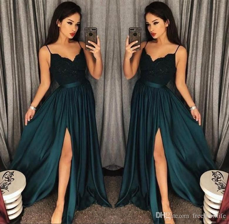 1b139e0c7fe9b Elegant A Line Blackish Green Prom Dresses 2019 Cutout Side Slit Evening  Gowns Lace Top Sexy Arabic Sweep Train Formal Party Dress Short Strapless  Prom ...