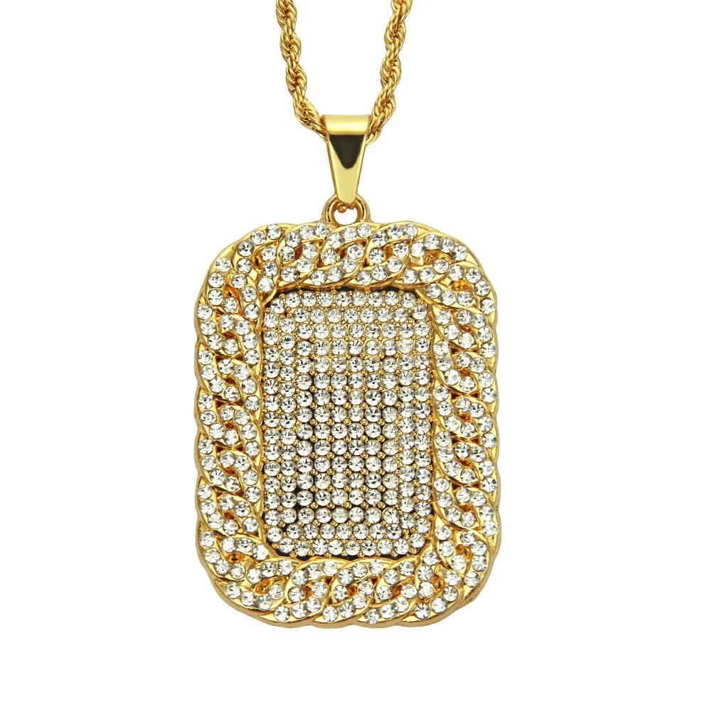 Mens Trendy Pendant Iced Out Rhinestone Gold Color Plated Charm Square Dog Tag Necklace Cuban Chain Hip Hop Boys Fashion Jewelry