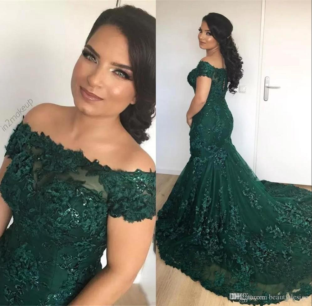 Sparkly African Dark Green Mermaid Prom Party Dresses 2019 Off the Shoulder Lace Sequins Corset Back Long Evening Celebrity Gowns Plus Size
