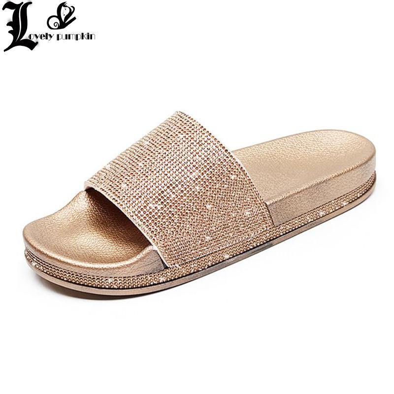 New Arrival Women Slippers Rhinestone Sandals Spring Summer Slides Home  Beach Slippers Flat Platform Shoes Woman Flip Flops L201 Slipper Socks  Moccasins For ... 5618d22a881e