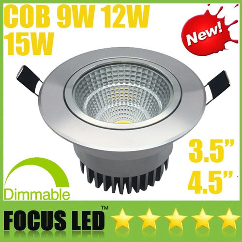COB 9W 12W 15W Silver LED Downlights 110-240V Cabinet Lamps Tiltable Fixture Recessed Ceiling Down Spot Lights Warm/Cool/Natural white CE UL