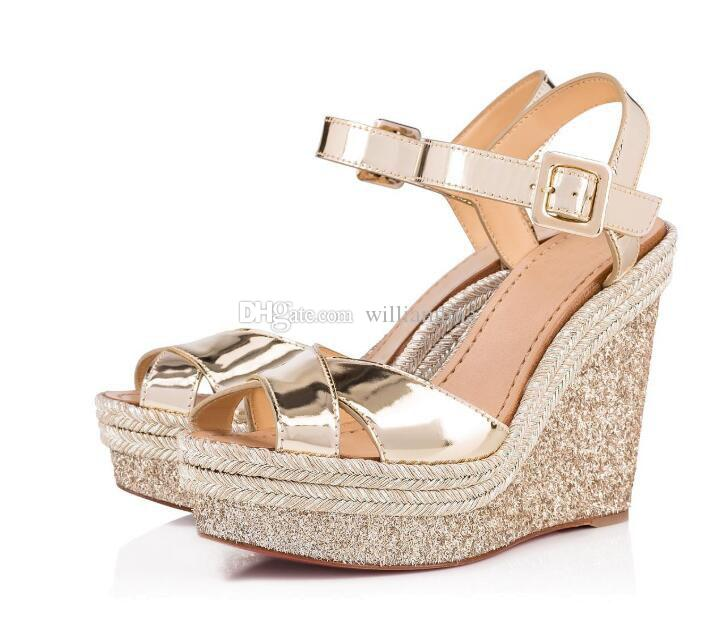 156563dcb2fca Spring/Summer Fashionable Women Red Bottom Almeria 120mm Wedges Glitter  Leather Ladies Sandals Ankle Strap High Heels EU35 42 Pink Shoes Salt Water  Sandals ...