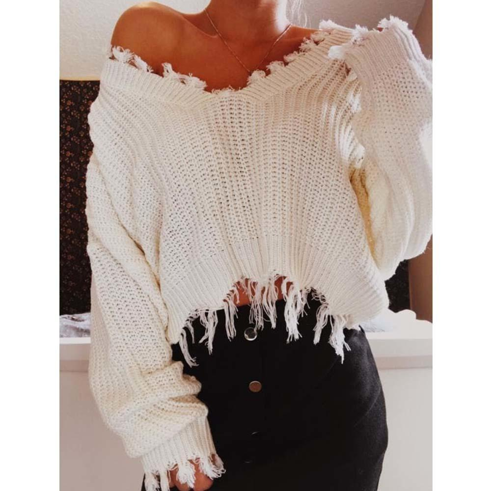 Azulina Knitted Sweater Autumn Women One Size Ripped V Neck Loose ... 7c0c000e6