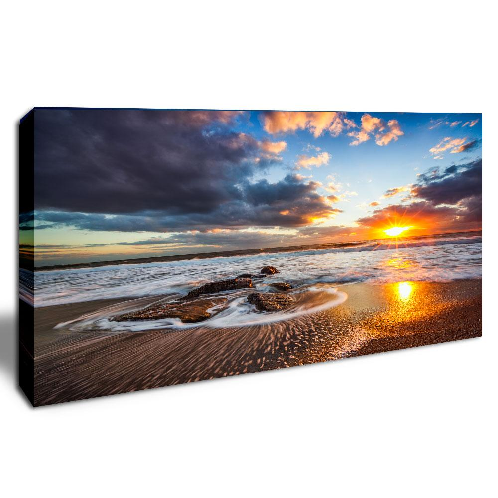 Sunset Seascape Wall Art Canvas Printing Sea Beach Landscape Decorative Painting for Home Decor Framed Scenery Picture for Hotel