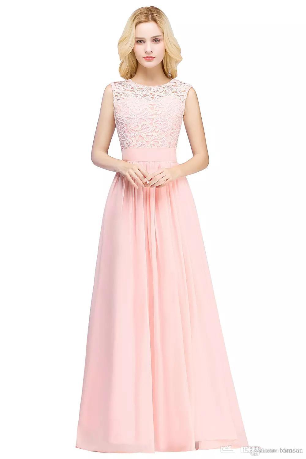 04c3aeaac6e 2019 Under  50 Cheap Elegant Bridesmaid Dresses Lace Applique Wedding Guest  Dress Sheer Back Zipper Chiffon Long Formal Gowns CPS489 From Densou