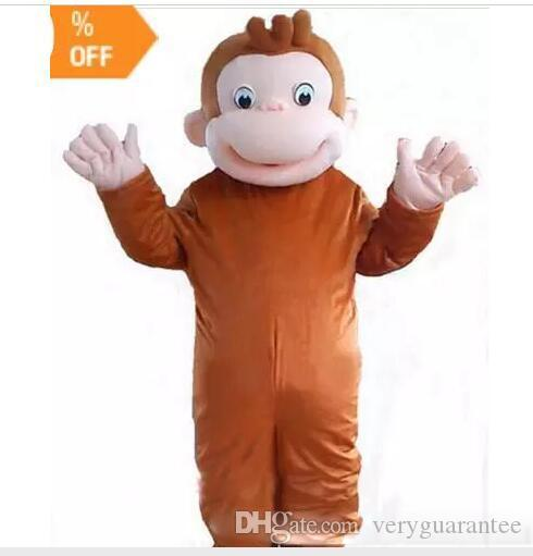 Brand 2018 New high quality Curious George monkey Adult mascot costume fancy party dress Halloween costume summer hot sale