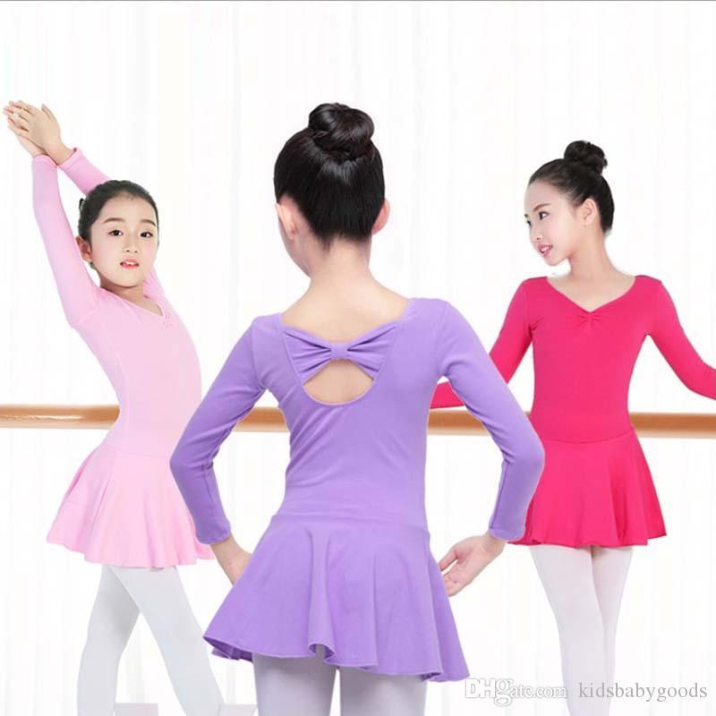 edd689c219 Compre Meninas Ballet Dance Dress Ginástica Para Crianças Leotard Saia  Crianças Desgaste Da Dança De Palco Longo   Manga Curta Meninas Traje De  Dança De ...