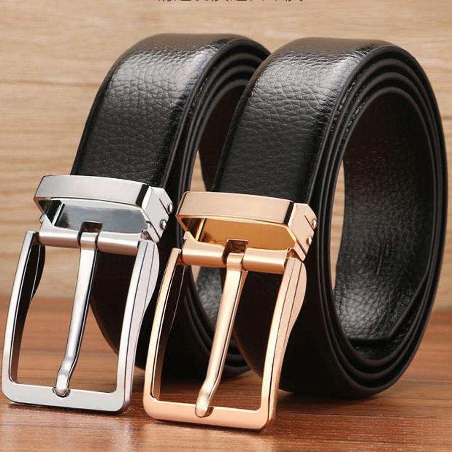 ca8cb6a3 8 Estilos Cinturón de cuero para hombre Negro Marrón Hebillas de cuero de  división Hebillas Cinturón de oro dorado Cinturones para hombre Correa ...