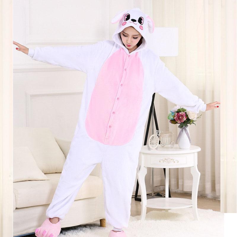Купить Оптом Забавный Кролик Kigurumi Животных Onesie Фланель Взрослых  Пижамы Кролик Onesies Для Женщин Косплей Пижамы Этап Специальный Костюм  Отhome5 В ... 107bbd37189be