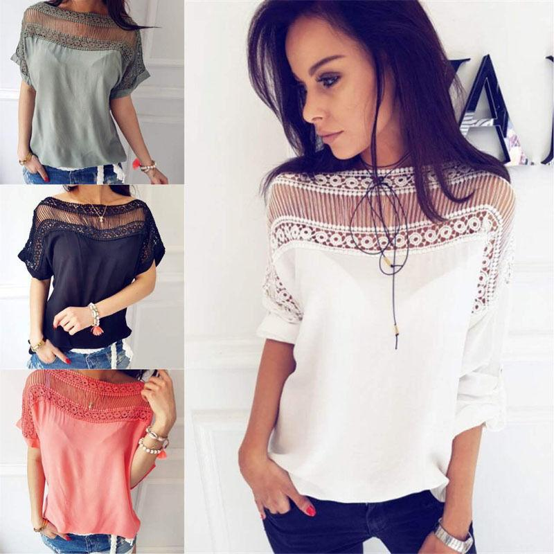 764c377866b2e New Fashion Summer Women Casual Tops T-Shirts Short Sleeve Crew Neck Floral  T-Shirt Ladies Online with  27.57 Piece on Illusory08 s Store