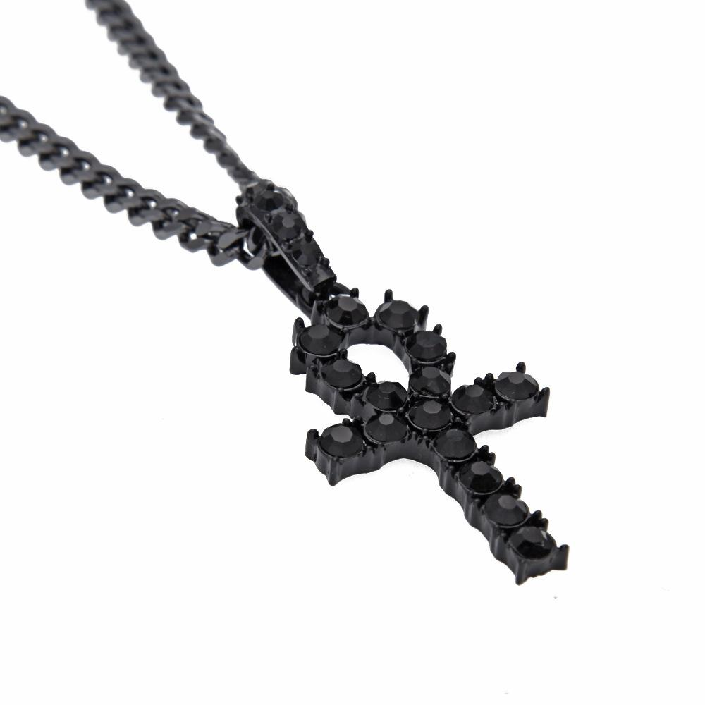 Full Diamond Egypt Ankh Necklace Street Hip Hop Key Pendant Necklaces Men Woman Punk Rock Street Cross Collar Exquisite Gothic Bff Jewelry