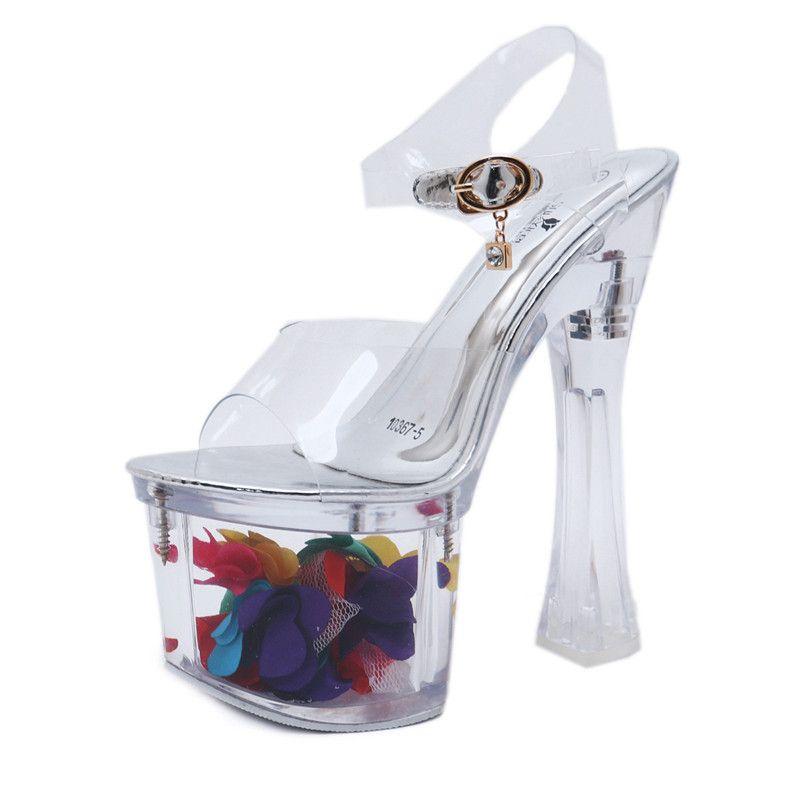 e0abc21217b506 Acheter Sandales Femmes Chaussures Talons Hauts 18CM Cristal ...
