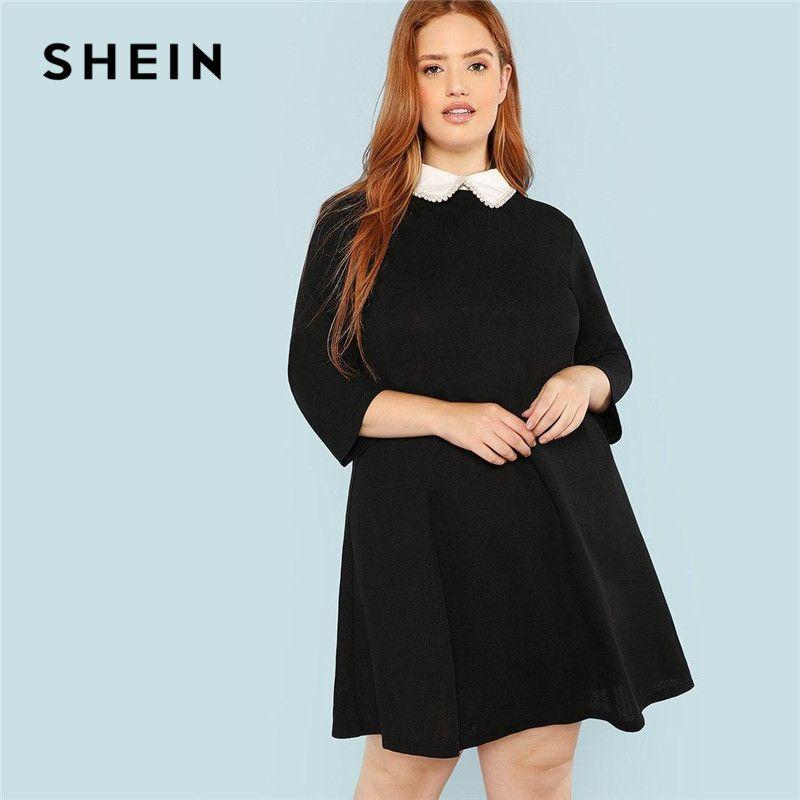 083e6950ffd SHEIN Plus Size Black Cute Peter Pan Collar Beading Pearl Embellished A  Line Loose Dresses Women Spring Autumn Knee Length Juniors Green Dress  Women Dress ...