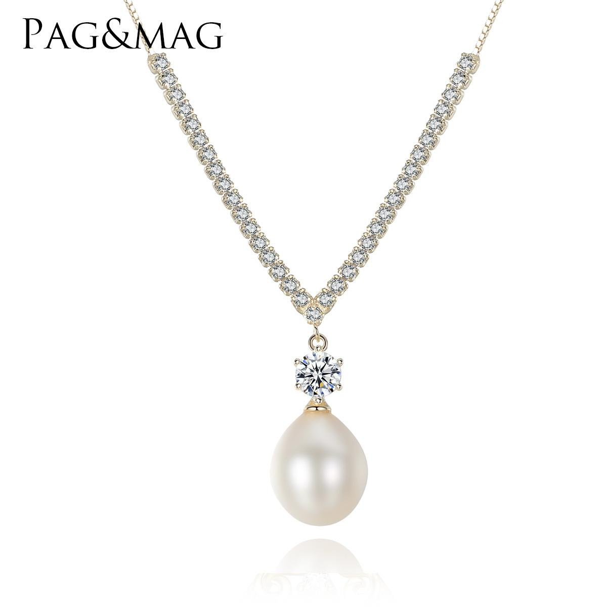 PAG&MAG S925 sterling silver necklace with 3A zircon 10-11mm natural freshwater pearl pendant necklace with exquisite collar bone chain